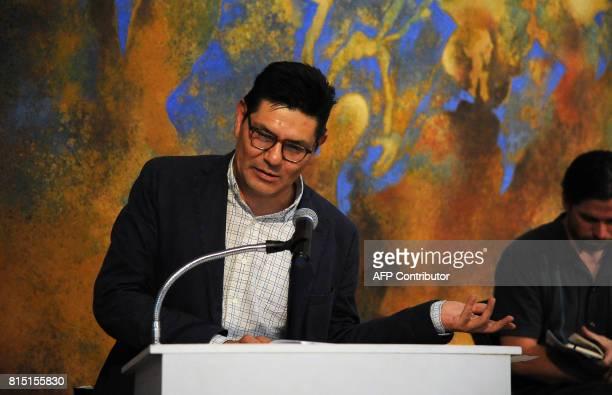 Mexican journalist Alejandro Almazan speaks during a tribute to slain Mexican Journalist Javier Valdez in Mexico City on July 15 2017 Valdez...