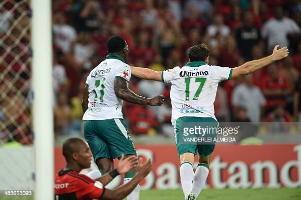 Mexican Leon's Boselli celebrates after scoring against Brazil's Flamengo during their Libertadores match at Mario Filho 'Maracana' stadium in Rio de...