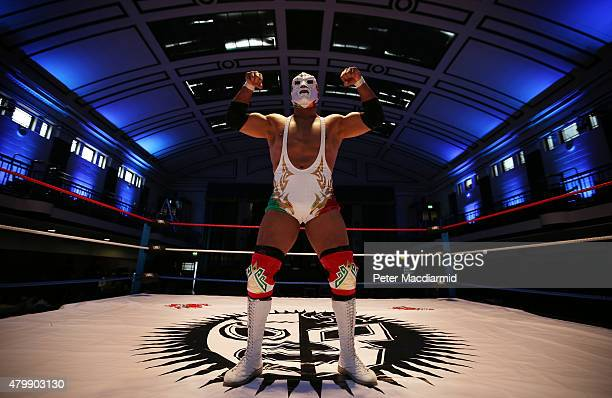 Mexican Lucha Libre wrestler Dr Wagner JR strikes a pose for the cameras at York Hall on July 8 2015 in London England Lucha Libre which translates...