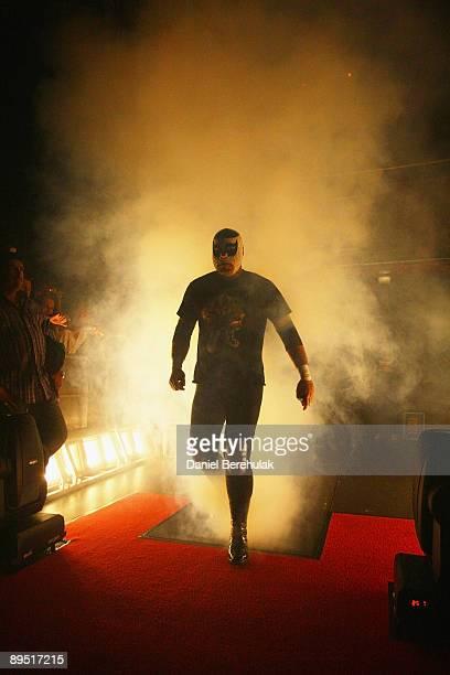 Mexican Lucha Libre Wrestler El Hijo De Cien Caras enters the arena at the Roundhouse in Camden on June 5 2008 in London England