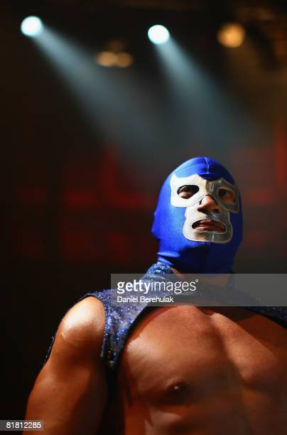Mexican Lucha Libre wrestler El Hijo del Santo looks on before performing for media during a press call on July 3 2008 in London England The Lucha...