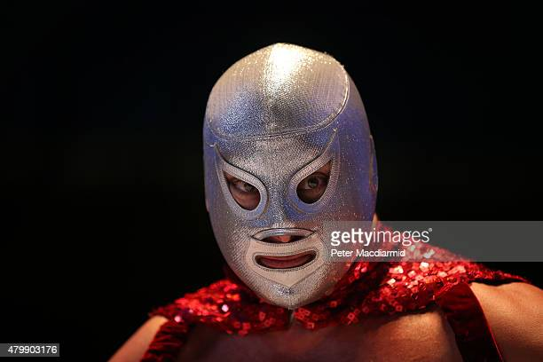 Mexican Lucha Libre wrestler El Hijo Del Santo poses at York Hall on July 8 2015 in London England Lucha Libre which translates as 'free fighting' is...