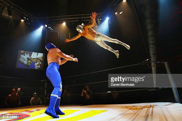 Mexican Lucha Libre wrestlers perform for media during a press call on July 3 2008 in London England The Lucha Libre authentic Mexican free wrestling...