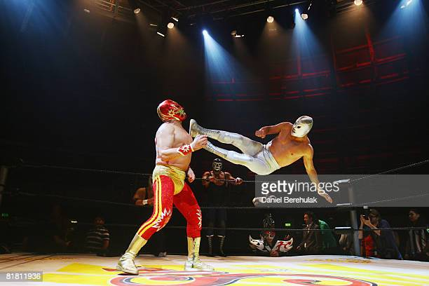 Mexican Lucha Libre wrestlers perform for the media during a press call on July 3 2008 in London England The Lucha Libre authentic Mexican free...