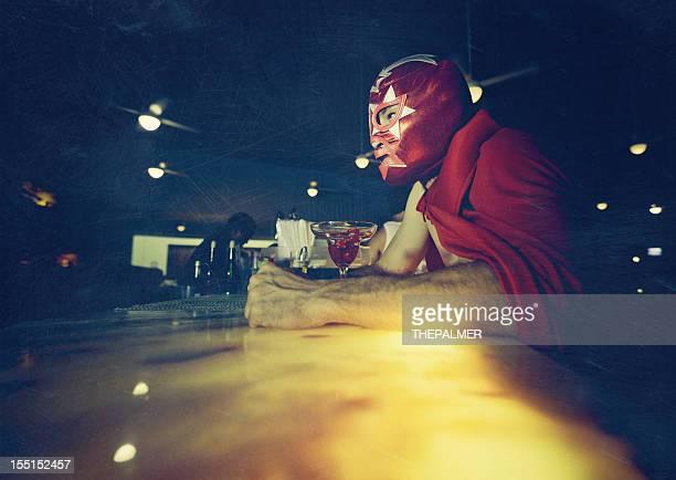 mexican luchador at a bar