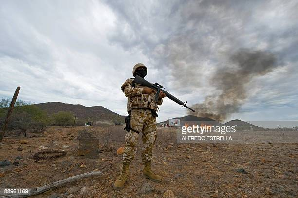 A Mexican marine stands guard as 7000 Kgs of seized marijuana are incinerated on July 9 at the naval base in Guaymas Sonora state Mexico AFP...