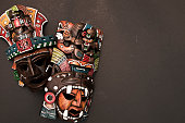 Mexican Mayan Aztec authentic wood and ceramic mask, scary face, handmade, handpainted