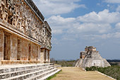Uxmal Maya ruins is the archaeological site of greatest relevance in the Puuc Route. Renowned for the beautiful friezes of its buildings facades, created with small stones perfectly polished, Mexico