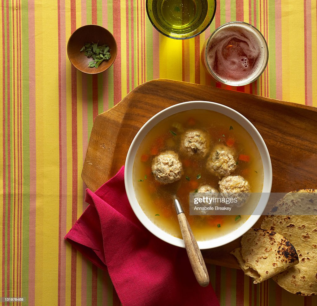 Mexican Meatball Vegetable Soup : Stock Photo