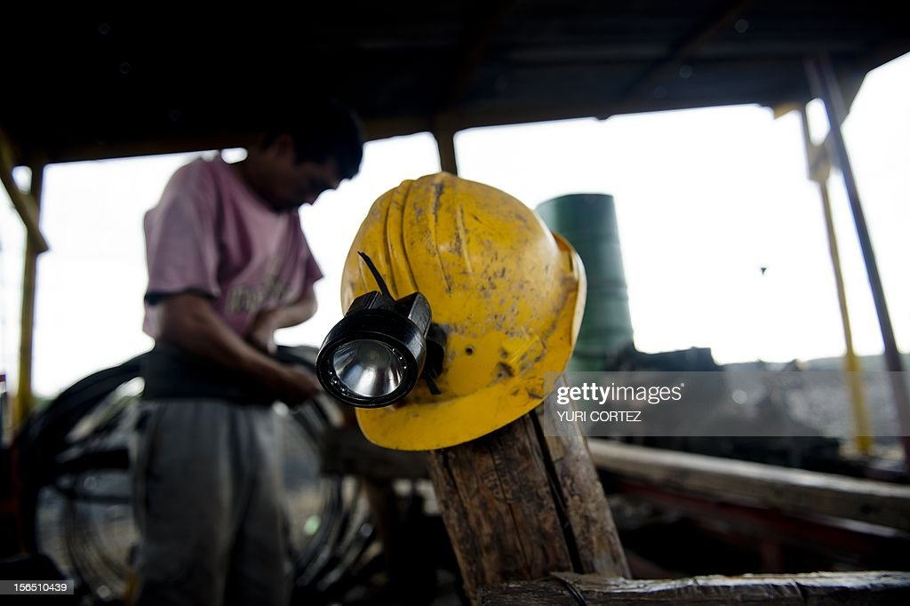 A Mexican miner gears up to get into the shaft to work in a coal mine in Agujita, Coahuila State in Mexico on November 13, 2012. According to the Mining Chamber of Mexico, the country produces annually 15 million tons of coal, with an average annual production worth USD 3,800 million, representing 1.6% of the country's Gross Domestic Product (GDP) . The bulk of the coal is used for power generation and steel production. Recent press reports affirm that drugs cartel are involved in the coal-related activities.