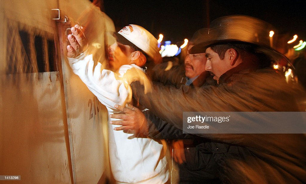 Mexican mounted police arrest an individual on the streets of Ciudad Juarez in a new attempt to clean up the city February 20 2000 On weekends six...