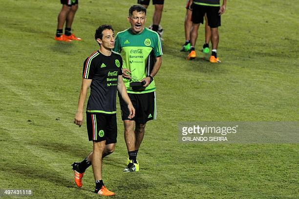 Mexican national football team coach Juan Carlos Osorio gestures during a field recognition at the Olimpico Metropolitano stadium in San Pedro Sula...