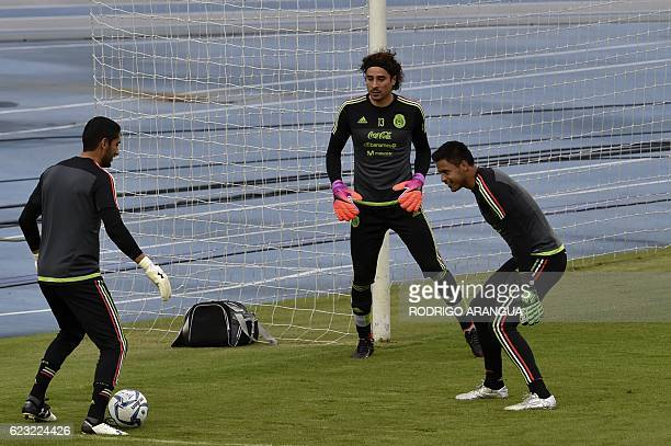 Mexican national football team goalies participate in a training at the Rommel Fernandez stadium in Panama City on November 14 ahead of a World Cup...