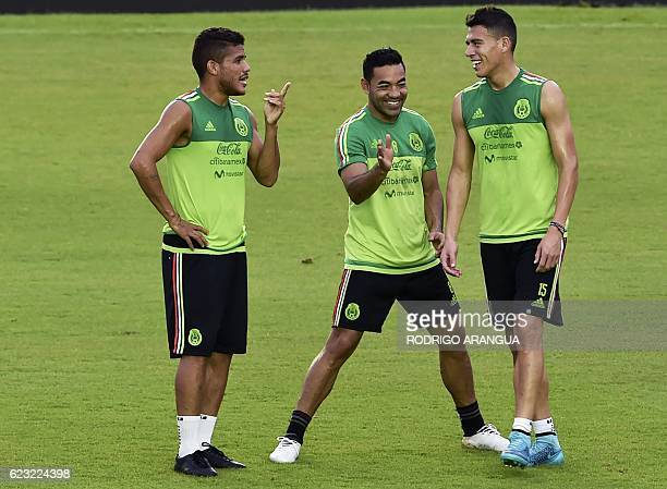 Mexican national football team players participate in a training at the Rommel Fernandez stadium in Panama City on November 14 ahead of a World Cup...