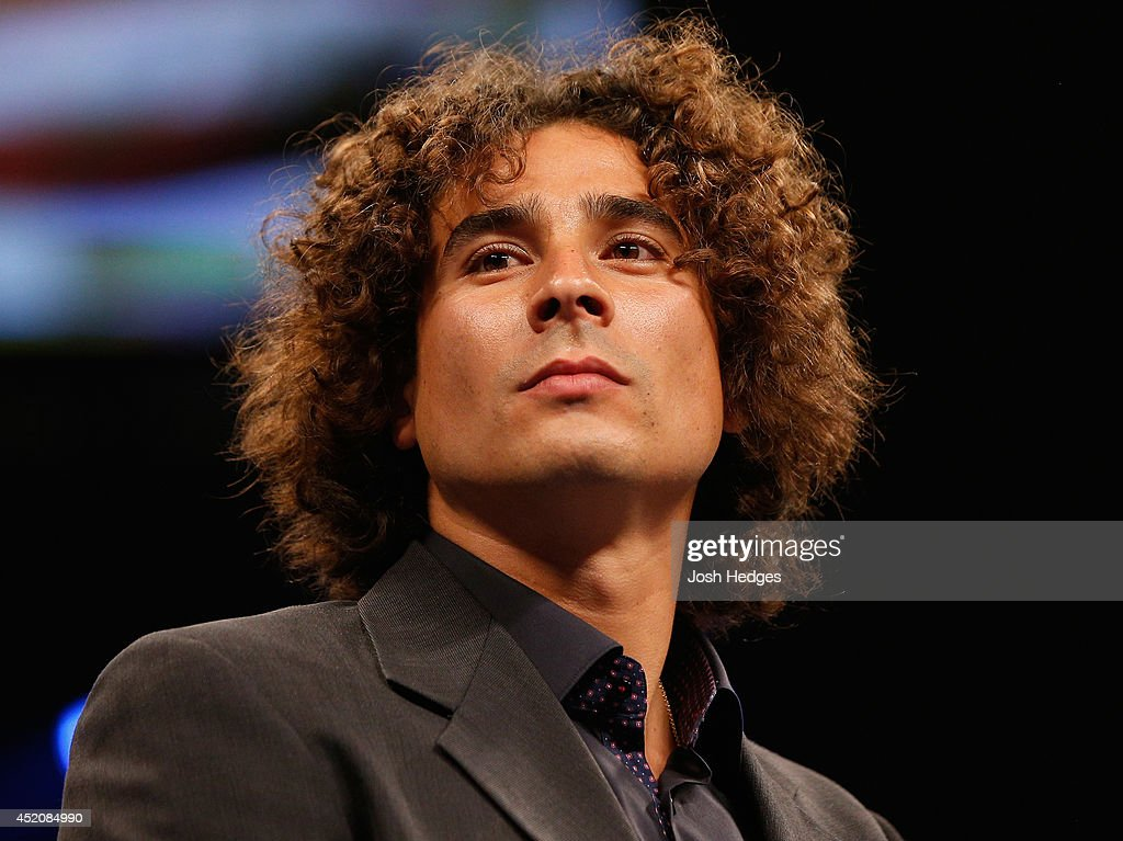 Mexican national soccer team goalkeeper <a gi-track='captionPersonalityLinkClicked' href=/galleries/search?phrase=Guillermo+Ochoa&family=editorial&specificpeople=490875 ng-click='$event.stopPropagation()'>Guillermo Ochoa</a> is seen in the ring before the junior middleweight bout between Canelo Alvarez and Erislandy Lara at the MGM Grand Garden Arena on July 12, 2014 in Las Vegas, Nevada.