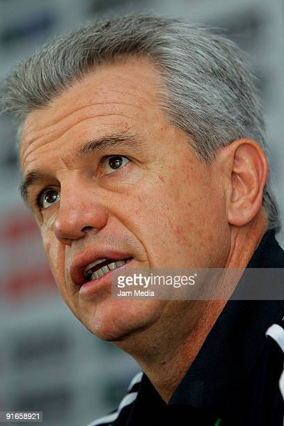 Mexican national soccer team head coach Javier Aguirre attends a press conference at the Mexican Football Federation's High Performance Center on...