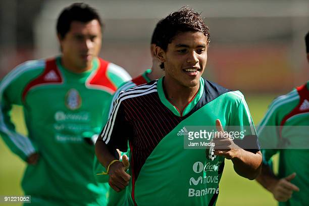 Mexican national soccer team player Jonathan dos Santos practice during a training session at the Mexican Football Federation's High Performance...