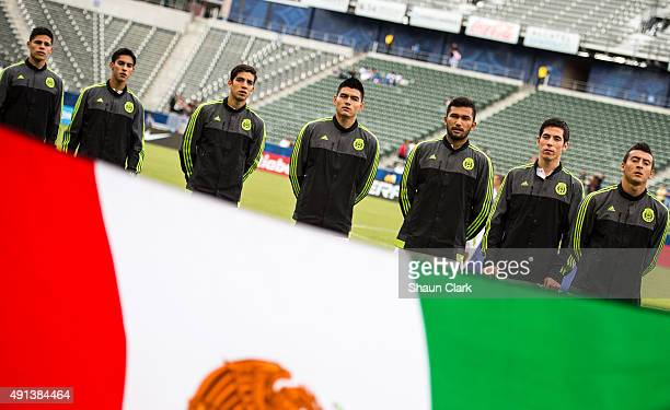 Mexican national team startiers prior to Mexico's Olympic Qualifying match against Haiti at the StubHub Center on October 4 2015 in Carson California...