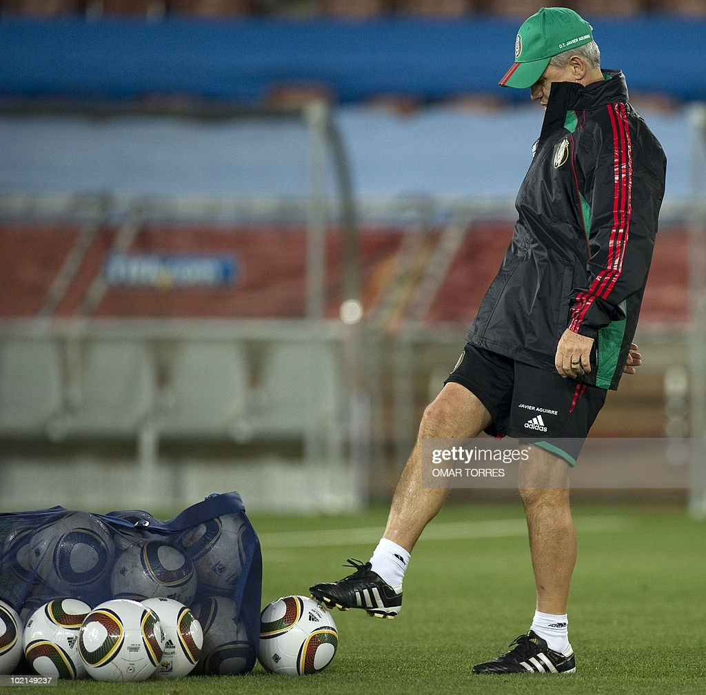 Mexican national team's coach Javier Aguirre takes part in a training session at Peter Mokaba stadium in Polokwane on June 16, 2010. Mexico will face France next June 17 in their second Group A game of the World Cup 2010 in Polokwane.