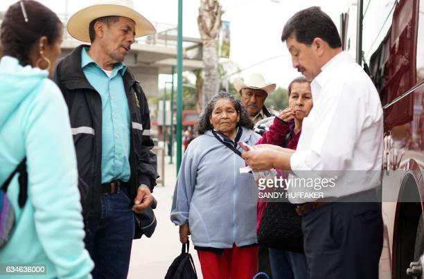 Mexican Nationals prepare to board a bus to Los Angeles after crossing the USMexico Border at the San Ysidro Port of Entry on Friday February 10 2017...