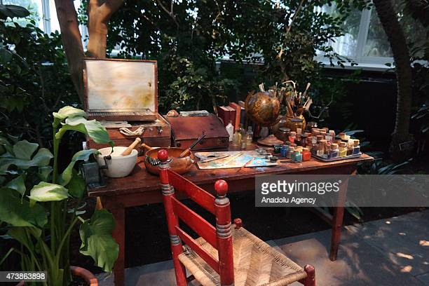 Mexican painter Frida Kahlo items are on display during the New York's Botanical Garden's exhibition Frida Kahlo Art Garden Life focuses on the...