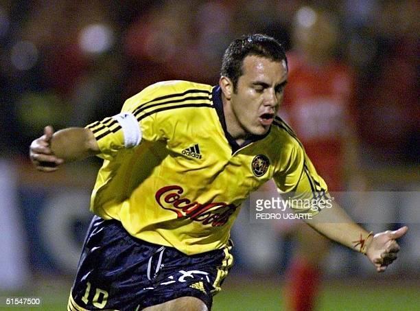 Mexican player Cuauhtemoc Blanco celebrates the first goal of the game 09 May 2000 in Bogota Columbia El jugador mexicano de las Aguilas del America...