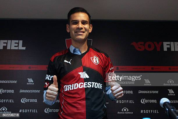 Mexican player Rafael Marquez gives the thumbs up during a press conference in Guadalajara Mexico on December 21 2015 Marquez was presented as new...