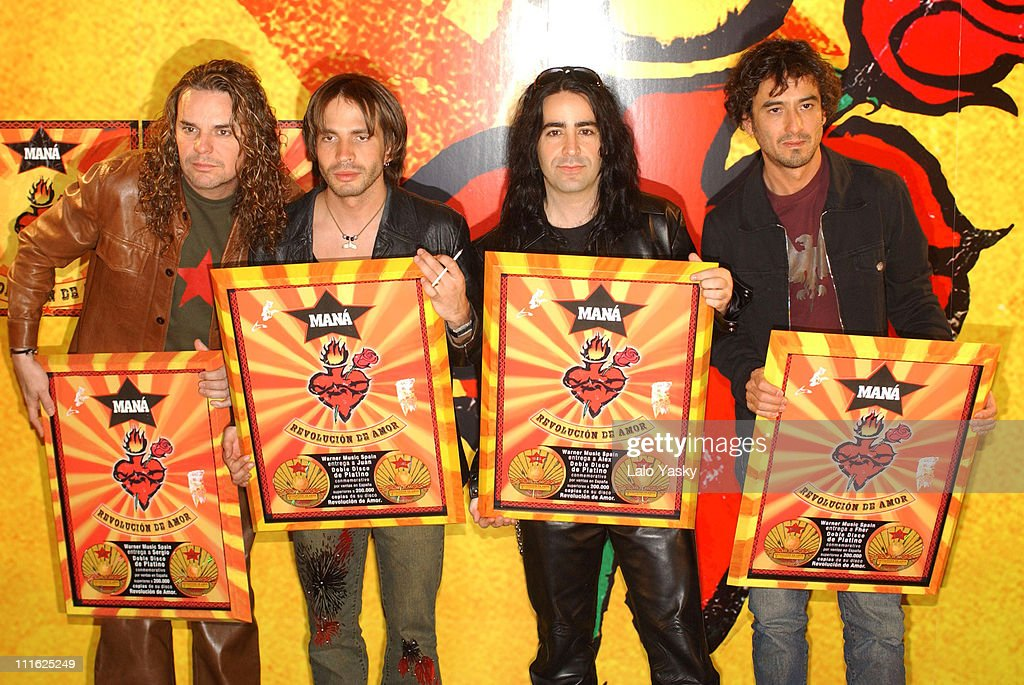 Mexican pop & rock band Mana receive a double platinum disk for their album 'Revolucion de Amor'