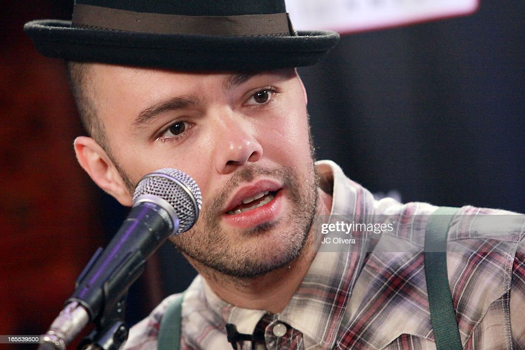 Mexican Pop Singer <a gi-track='captionPersonalityLinkClicked' href=/galleries/search?phrase=Jesse+Huerta&family=editorial&specificpeople=6343572 ng-click='$event.stopPropagation()'>Jesse Huerta</a> speaks during Jesse & Joy's 'Latinos Imparables' Tour Announcement Press Conference at House of Blues Sunset Strip on April 4, 2013 in West Hollywood, California.