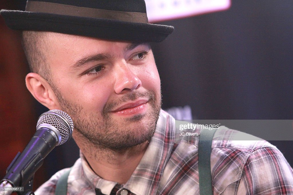 Mexican Pop Singer Jesse Huerta speaks during Jesse & Joy's 'Latinos Imparables' Tour Announcement Press Conference at House of Blues Sunset Strip on April 4, 2013 in West Hollywood, California.