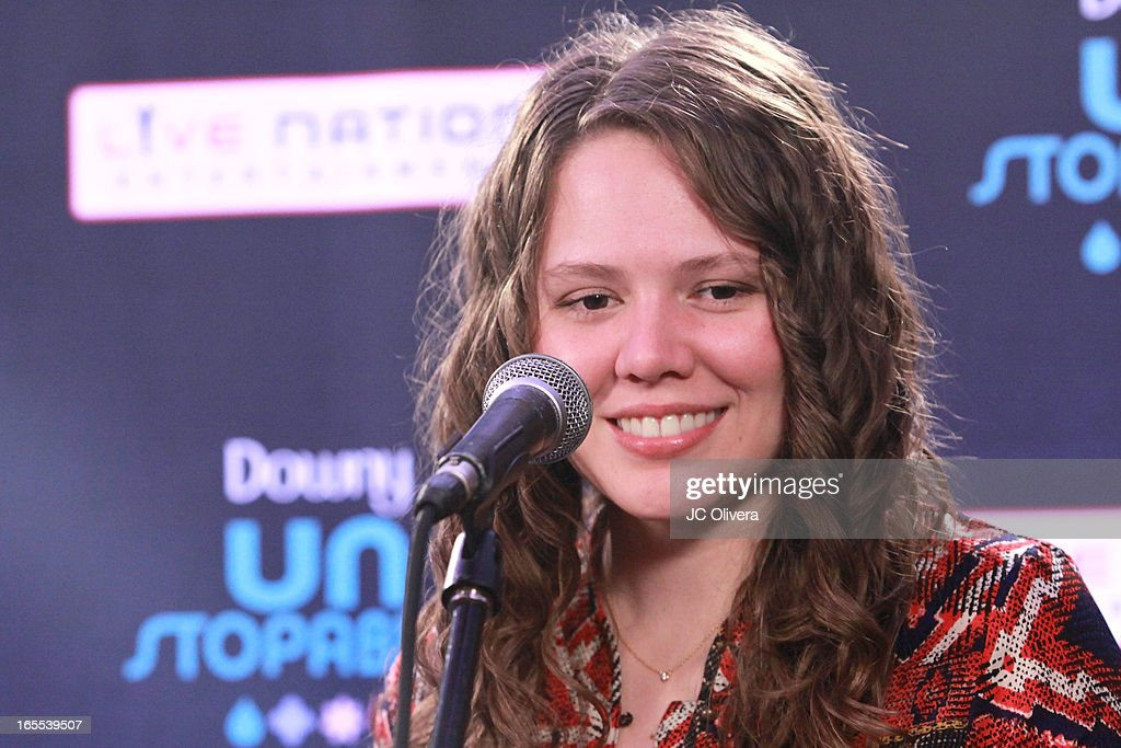 Mexican Pop Singer Joy Huerta speaks during Jesse & Joy's 'Latinos Imparables' Tour Announcement Press Conference at House of Blues Sunset Strip on April 4, 2013 in West Hollywood, California.