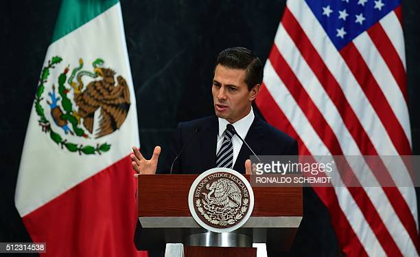 Mexican President addresses the press after a meeting with US Vice President Joe Biden at Los Pinos presidential residence in Mexico City on February...