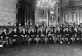Mexican President Emilio Portes Gil with members of his Cabinet after his inauguration in 1928 From left to right Felipe Canales Secretary of the...