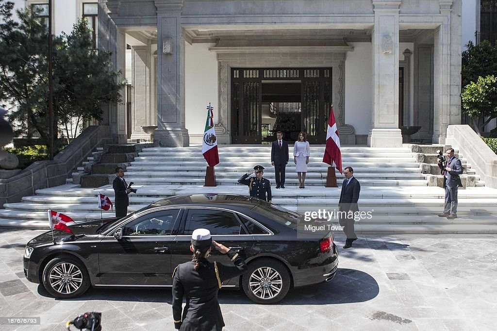 Mexican President Enrique Peñ–a Nieto and his wife the mexican first lady Angelica Rivero receive Mary Elizabeth crown princess of Denmark and Frederik André Henrik Christian de Glücksburg crown prince of Denmark, during a welcome ceremony at Los Pinos official recidence on November 11, 2013 in Mexico City, Mexico.