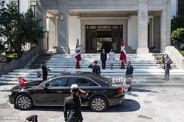 Mexican President Enrique Peñ–a Nieto and his wife the mexican first lady Angelica Rivero receive Crown Princess Mary of Denmark and Frederik André...