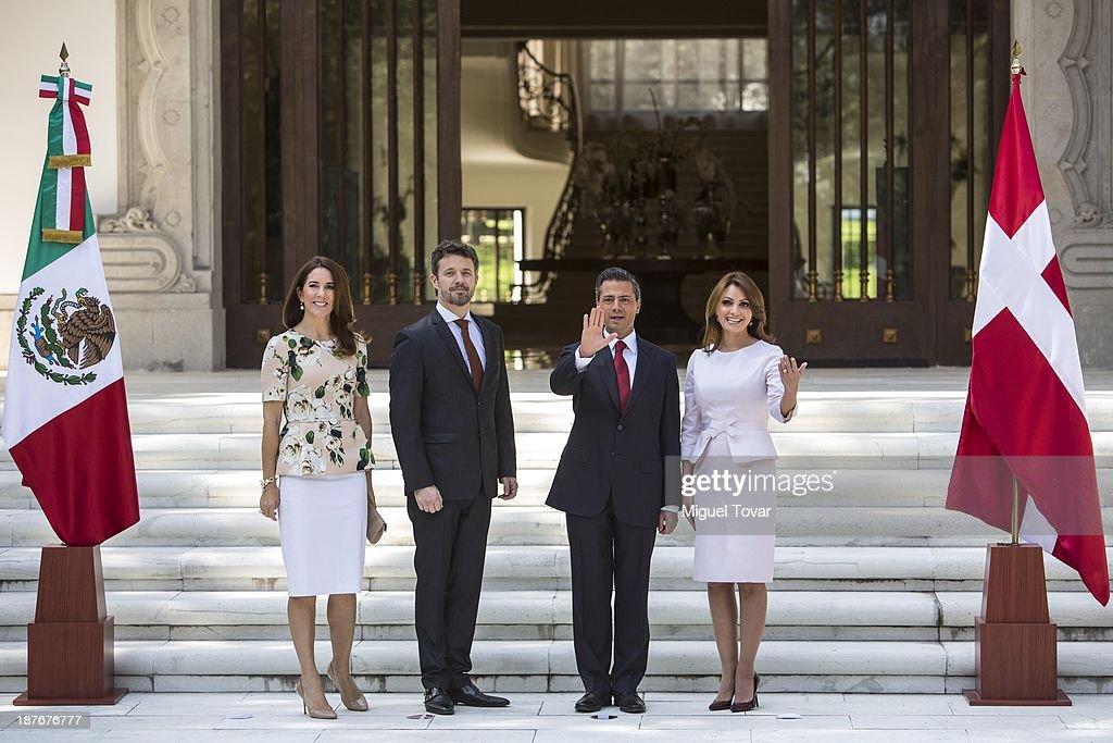 Mexican President Enrique Pe–ña Nieto receives Prince of Denmark Frederik André Henrik Christian de Glücksburg during a welcome ceremony at Los Pinos official recidence on November 11, 2013 in Mexico City, Mexico.