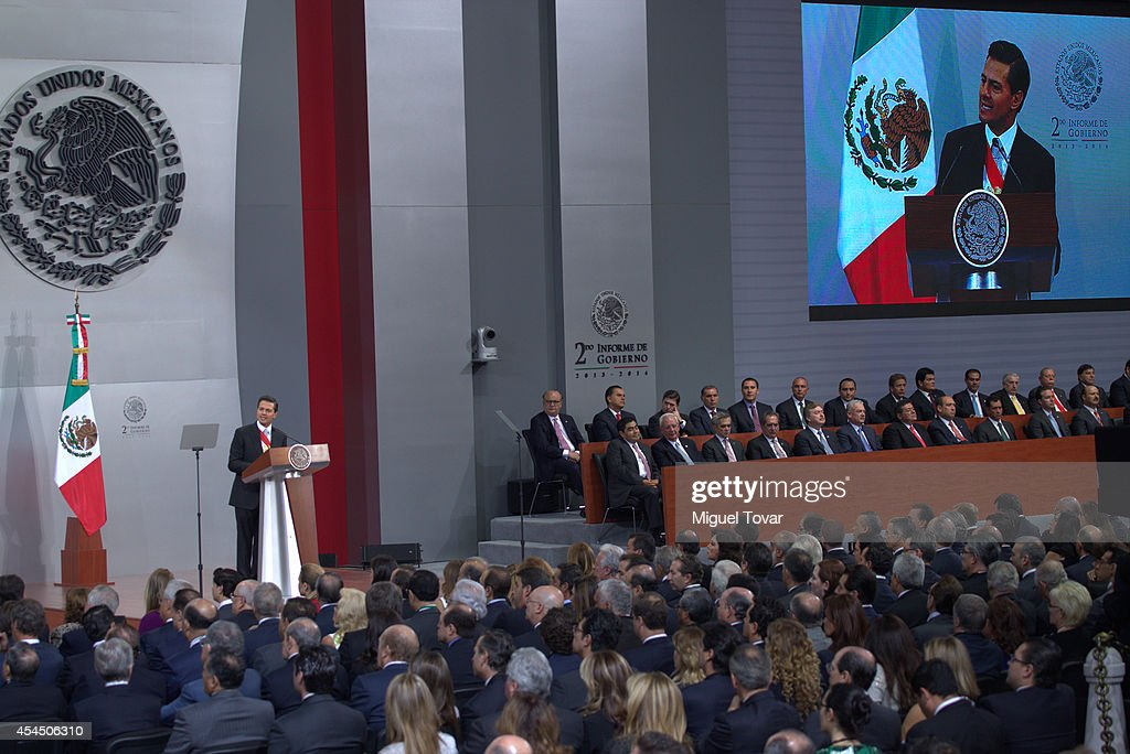 Mexican president Enrique Peña Nieto speaks during the Presentation Of Second Annual Report of Mexican Federal Government at National Palace on September 02, 2014 in Mexico City, Mexico.