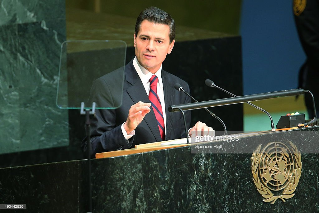Mexican President Enrique Pena Nieto addresses the United Nations General Assembly at U.N. headquarters on September 28, 2015 in New York City. The ongoing war in Syria and the refugee crisis it has spawned are playing a backdrop to this years 70th annual General Assembly meeting of global leaders.