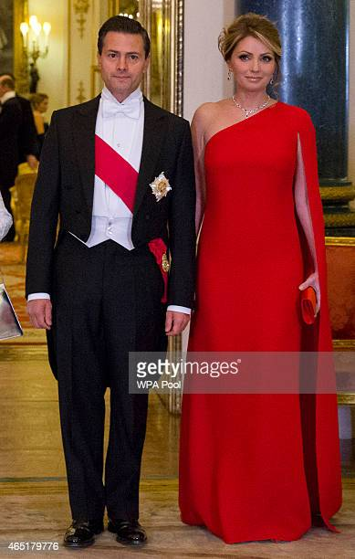 Mexican President Enrique Pena Nieto and his wife Angelica Rivera pose for a photograph before a State Banquet at Buckingham Palace on March 3 2015...