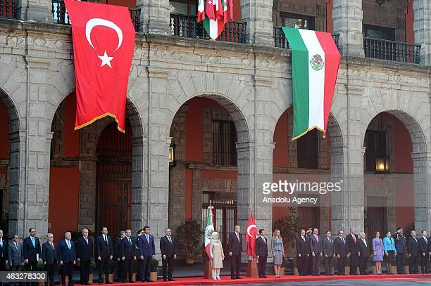 Mexican President Enrique Pena Nieto and his wife Angelica Rivera welcome Turkish President Recep Tayyip Erdogan and his wife Emine Erdogan in Mexico...