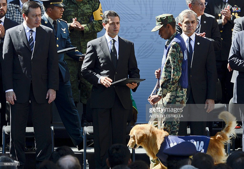 Mexican President Enrique Pena Nieto (C) and Mexican Interior Minister Miguel Osorio Chong (L) give an special recognition to a Mexican soldier with his search dog during a homage to the victims of the blast in the state-owned Mexican oil giant Pemex, in Mexico City on February 8, 2013. An explosion rocked the skyscraper, leaving up to 37 dead and 121 injured. Hundreds of firefighters, police and soldiers toiled through days after the blast ripped through an annex of the 54-floor tower leaving concrete, computers and office furniture strewn on the ground. AFP PHOTO/ Alfredo Estrella