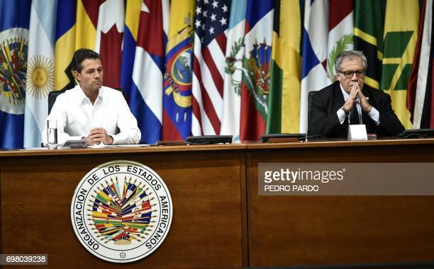 Mexican President Enrique Pena Nieto and Organization of American States Secretary General Luis Almagro gesture during the opening ceremony of the...