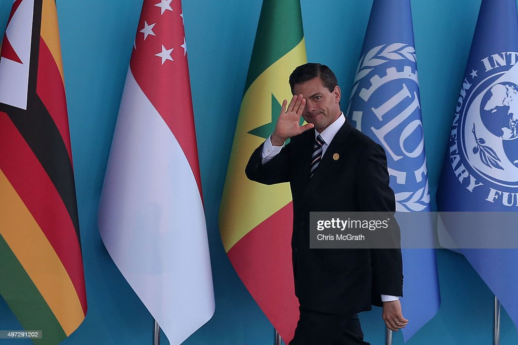Mexican President Enrique Pena Nieto arrives during the official welcome ceremony on day one of the G20 Turkey Leaders Summit on November 15, 2015 in Antalya, Turkey. World leaders will use the summit to discuss issues including, climate change, the global economy, the refugee crisis and terrorism. The two day summit takes place in the wake of the massive terrorist attack in Paris which killed more than 120 people.