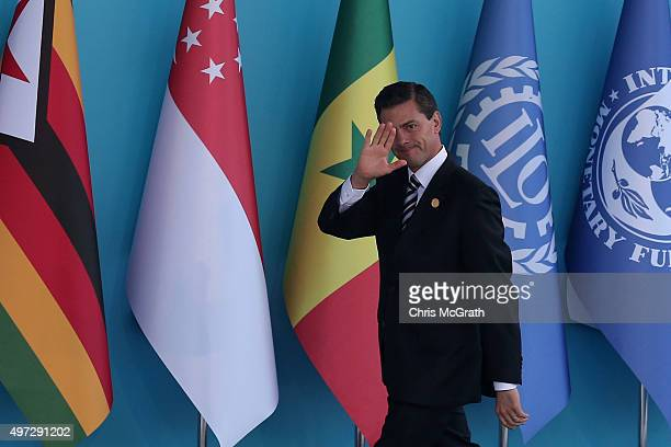 Mexican President Enrique Pena Nieto arrives during the official welcome ceremony on day one of the G20 Turkey Leaders Summit on November 15 2015 in...