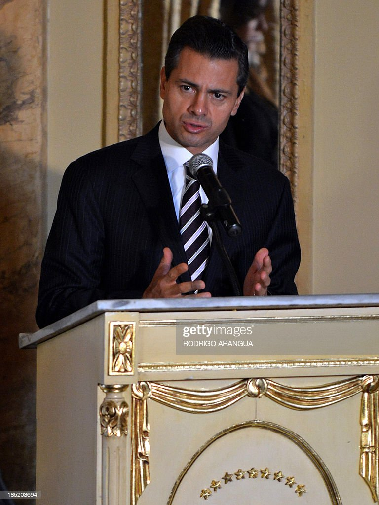 Mexican President Enrique Pena Nieto delivers a speech during a signing-of-agreements ceremony with his Panamanian counterpart Ricardo Martinelli (out of frame) at the Las Garzas Presidential Palace in Panama City on October 18, 2013, before the beginning of the XXIII Ibero-American Summit. AFP PHOTO / Rodrigo ARANGUA