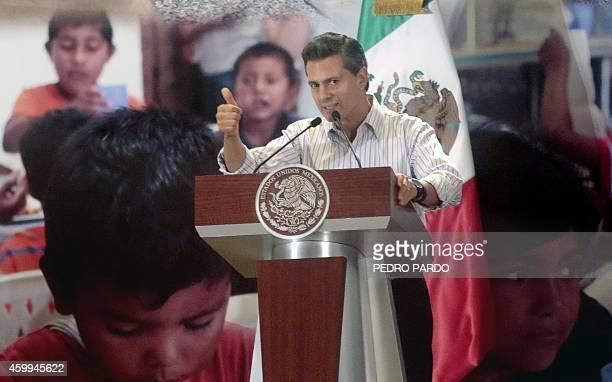 Mexican President Enrique Pena Nieto delivers a speech during the presentation of the programme 'Nuevo Guerrero' in Acapulco Guerrero State Mexico on...