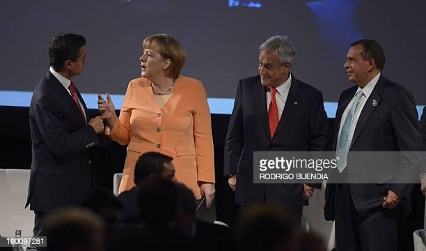 Mexican President Enrique Pena Nieto German Chancellor Angela Merkel Chilean President Sebastian Pinera and Honduras' President Porfilio Lobo attend...