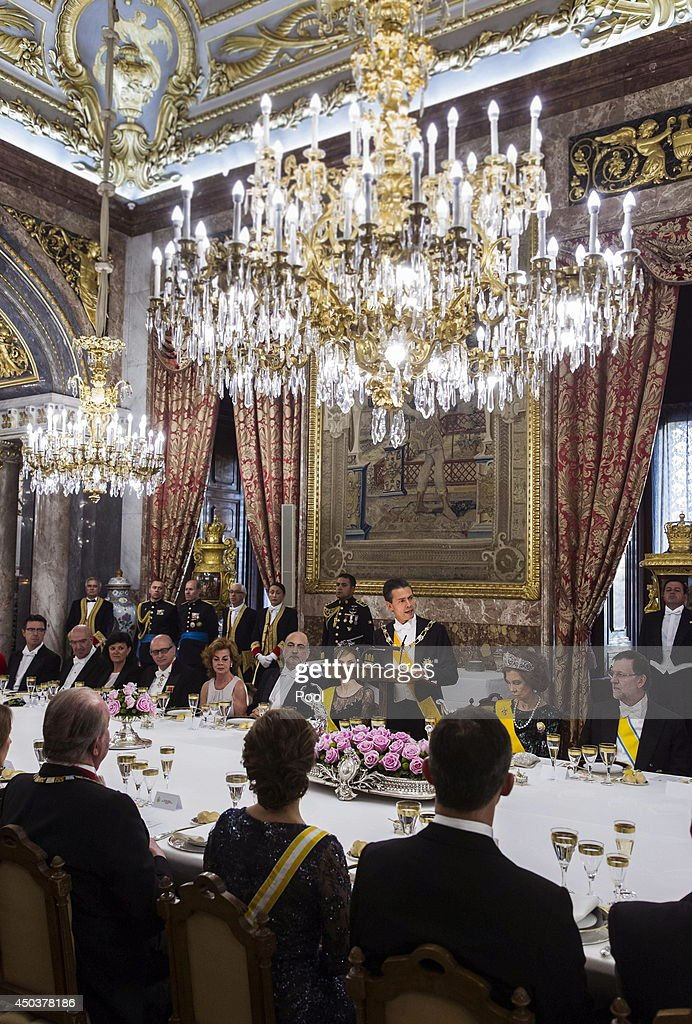 Mexican President Enrique Pena Nieto speaks at a Gala Dinner in his honour at The Royal Palace on June 9, 2014 in Madrid, Spain.