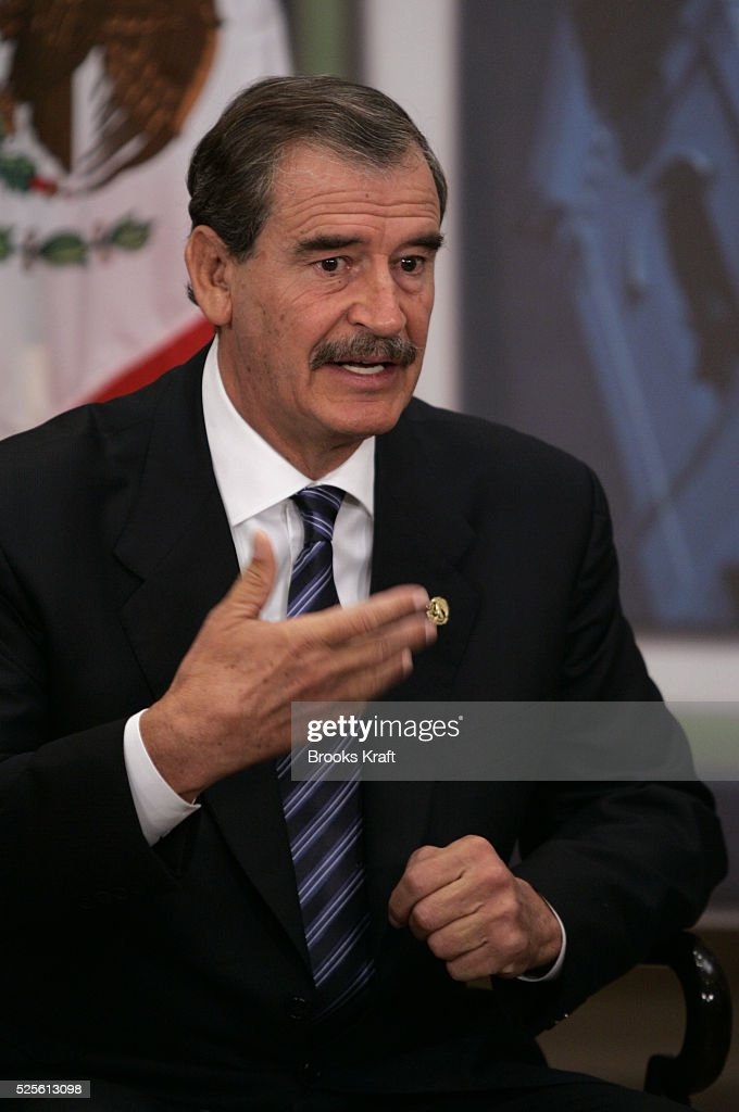 Mexican President Vicente Fox during a bilateral meeting with US President George W Bush in Santiago on November 21 2004 during the annual...