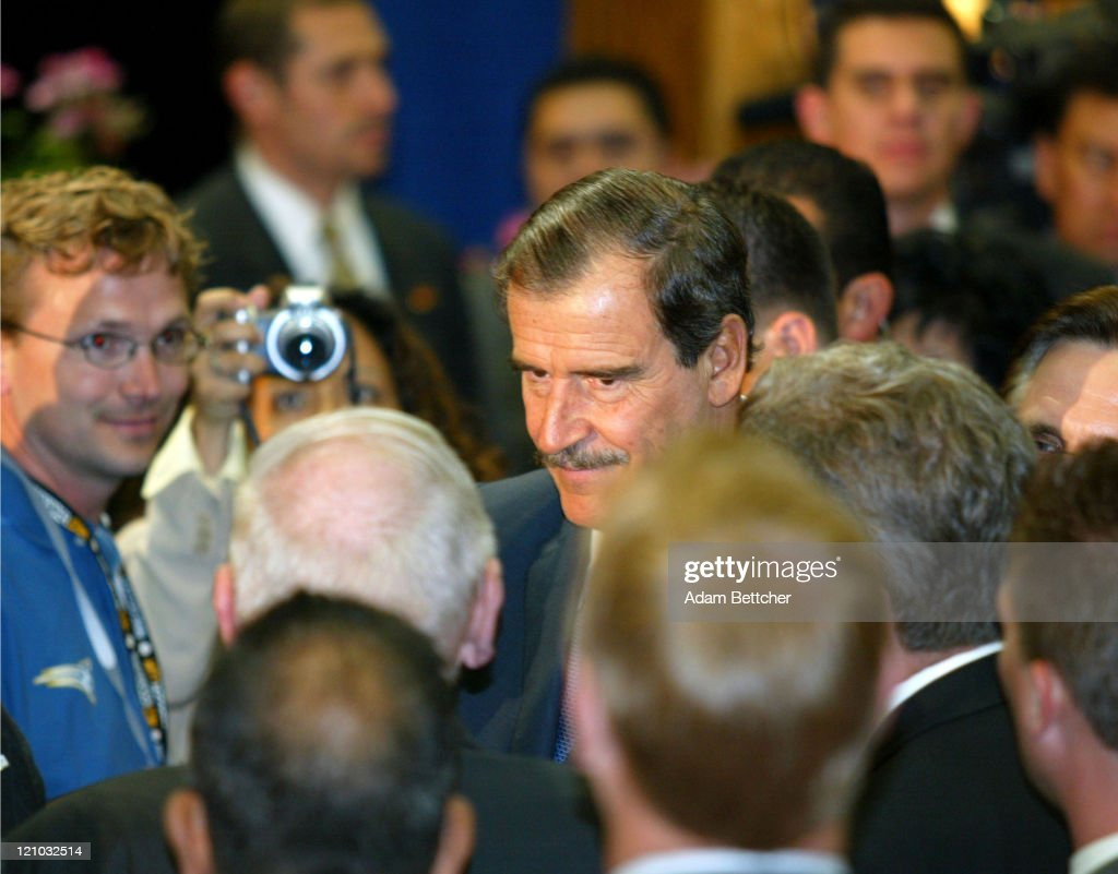 Mexican President <a gi-track='captionPersonalityLinkClicked' href=/galleries/search?phrase=Vicente+Fox&family=editorial&specificpeople=202615 ng-click='$event.stopPropagation()'>Vicente Fox</a> visits Cesar Chavez Academy in St. Paul, Minnesota on Friday June 18, 2004. During his visit, Fox announced a Mexican Consulate in St. Paul, Minnesota.